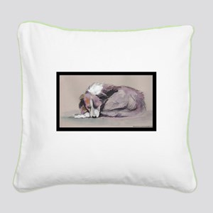 Sleeping Collie Square Canvas Pillow