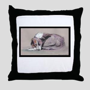 Sleeping Collie Throw Pillow