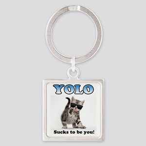YOLO Cat Square Keychain