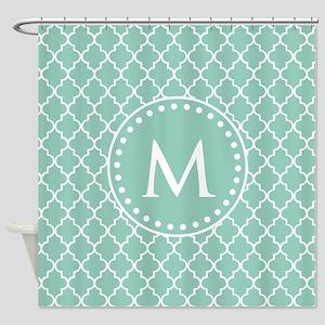 Mint Green Quatrefoil Pattern Monog Shower Curtain