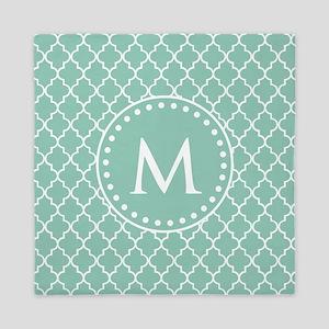 Mint Green Quatrefoil Pattern Monogram Queen Duvet