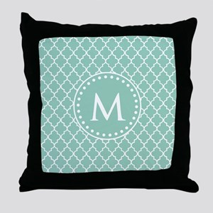 Mint Green Quatrefoil Pattern Monogra Throw Pillow