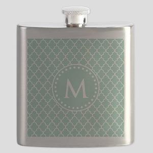 Mint Green Quatrefoil Pattern Monogram Flask