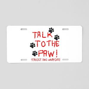 SERVICE DOG PAW Aluminum License Plate