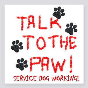 "SERVICE DOG PAW Square Car Magnet 3"" x 3"""