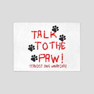 SERVICE DOG PAW 5'x7'Area Rug