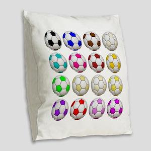 Soccer Balls Burlap Throw Pillow