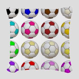 Soccer Balls Woven Throw Pillow