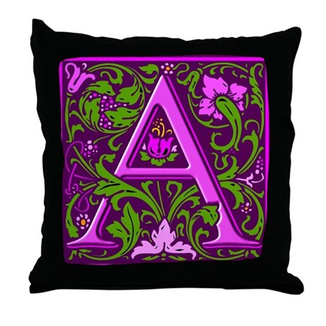 Floral Initial A Throw Pillow