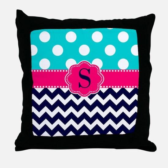 Teal Pink Navy Dots Chevron Monogram Throw Pillow
