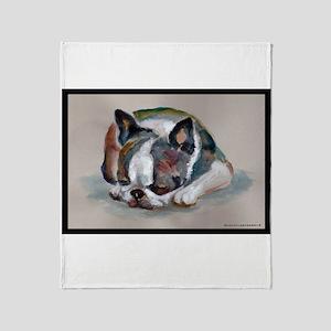 Sleeping Boston Terrier Throw Blanket