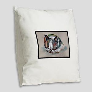 Sleeping Boston Terrier Burlap Throw Pillow