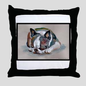 Sleeping Boston Terrier Throw Pillow