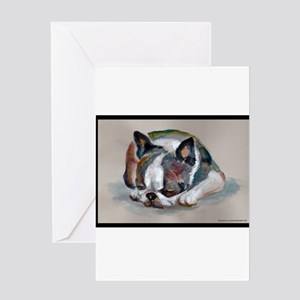 Sleeping Boston Terrier Greeting Card