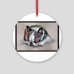 Sleeping Boston Terrier Ornament (Round)