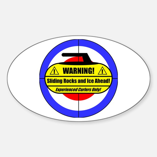 """Warning! Sliding Rocks..."" Oval Decal"