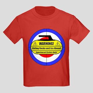 """Warning! Sliding Rocks..."" Kids Dark T-Shirt"