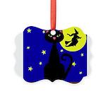 Black Cat Halloween Witch Ornament