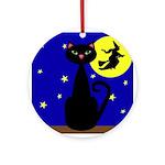 Black Cat Halloween Witch Ornament (Round)