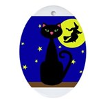 Black Cat Halloween Witch Ornament (Oval)