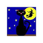Black Cat Halloween Witch Sticker