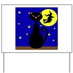 Black Cat Halloween Witch Yard Sign