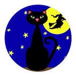 Black Cat Halloween Witch Round Car Magnet