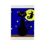 Black Cat Halloween Witch Magnets