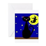 Black Cat Halloween Witch Greeting Cards