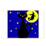 Black Cat Halloween Witch Postcards (Package of 8)