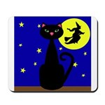Black Cat Halloween Witch Mousepad