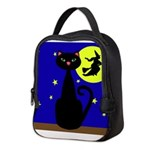 Black Cat Halloween Witch Neoprene Lunch Bag