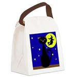 Black Cat Halloween Witch Canvas Lunch Bag