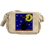 Black Cat Halloween Witch Messenger Bag