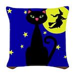Black Cat Halloween Witch Woven Throw Pillow