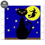 Black Cat Halloween Witch Puzzle