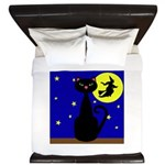 Black Cat Halloween Witch King Duvet
