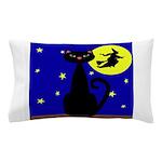 Black Cat Halloween Witch Pillow Case