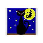 Black Cat Halloween Witch Throw Blanket