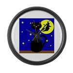 Black Cat Halloween Witch Large Wall Clock
