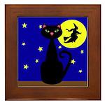 Black Cat Halloween Witch Framed Tile