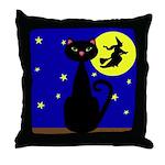 Black Cat Halloween Witch Throw Pillow