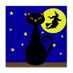 Black Cat Halloween Witch Tile Coaster