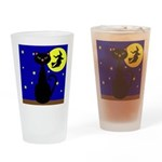 Black Cat Halloween Witch Drinking Glass