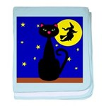 Black Cat Halloween Witch baby blanket