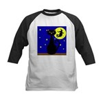 Black Cat Halloween Witch Baseball Jersey