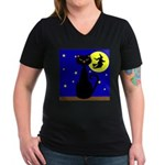 Black Cat Halloween Witch T-Shirt