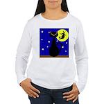 Black Cat Halloween Witch Long Sleeve T-Shirt