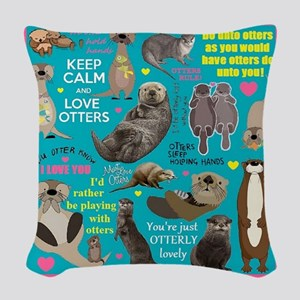 Otters Woven Throw Pillow