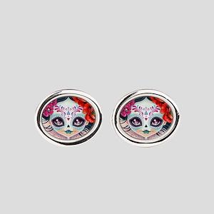 Amelia Calavera Sugar Skull Oval Cufflinks